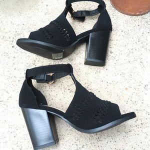 Braided Black Suede Heels